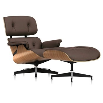 Shown in 2100 Leather Tobacco fabric with Walnut frame finish