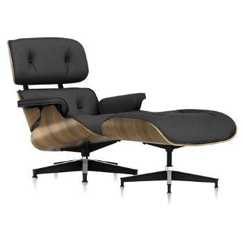 Shown in Open Line Leather Cocoa fabric with New Oiled Walnut frame finish