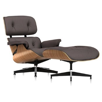 Shown in Open Line Leather Deep Earth fabric with Walnut frame finish