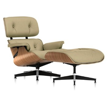 Shown in Open Line Leather Eggshell fabric with Walnut frame finish