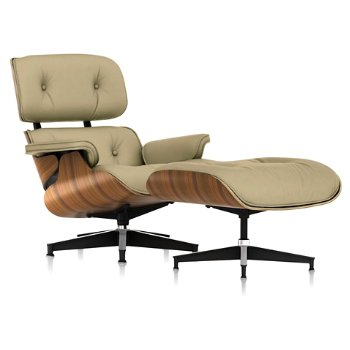 Shown in Open Line Leather Eggshell fabric with New Oiled Santos Palisander frame finish