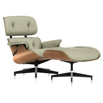 Shown in Open Line Leather Magnolia fabric with Walnut frame finish