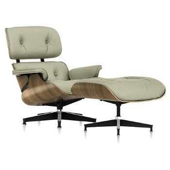 Shown in Open Line Leather Magnolia fabric with New Oiled Walnut frame finish
