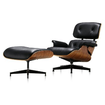Shown in MCL Leather Black fabric with New Oiled Walnut frame finish