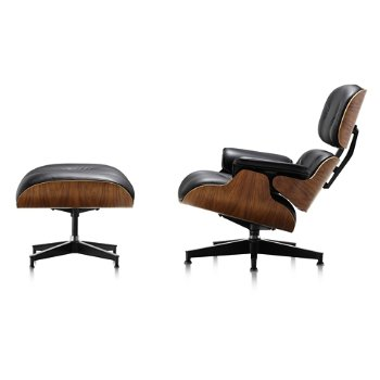 Shown in MCL Leather Black fabric with New Oiled Walnut finish