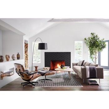 Eames Lounge Chair with Ottoman, Noguchi Rudder Table and Eames Walnut Stools