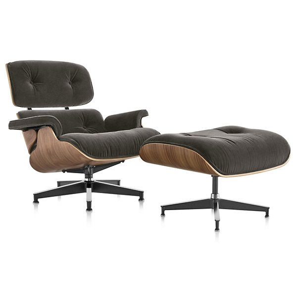 Eames Lounge Chair with Ottoman in Mohair Supreme