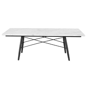 Shown in Carrara Marble top with Ebony leg finish, Black frame, 30-in x 45-in