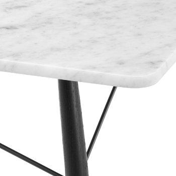 Shown in Carrara Marble top with Ebony leg finish, Black frame