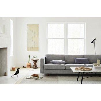 Eames Coffee Table with Lispenard Sofa and Eames Walnut Stools