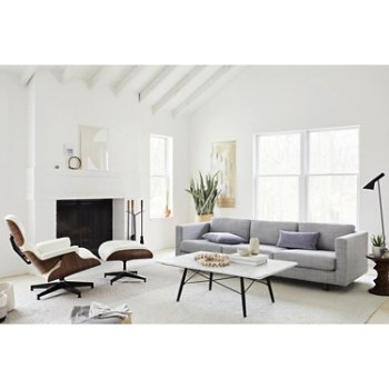Eames Coffee Table with Eames Lounge Chair with Ottoman, Eames Walnut Stools, Lispenard Sofa and Nelson Fireplace Tool Set