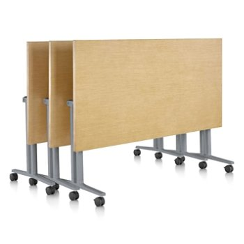 Shown in Clear on Ash finish, Natural Maple edge finish, with Metallic Silver leg finish