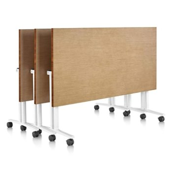 Shown in Natural Maple finish, Light Brown Walnut edge finish, with White leg finish