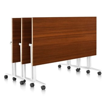 Shown in Light Brown Walnut finish, Natural Maple edge finish, with White leg finish