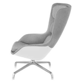 Shown in Heathered Grey fabric with White back finish and Polished Aluminum base finish