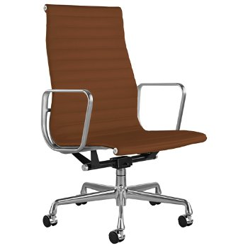 Shown in 2100 Leather Copper with Polished Aluminum Base/ Polished Aluminum Frame, 2-In. Hard Double Wheel Caster, Chrome
