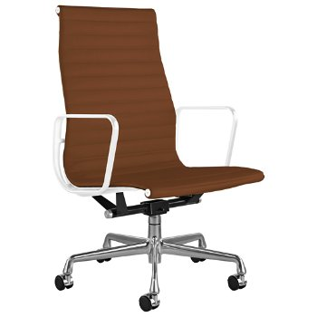 Shown in 2100 Leather Copper with Polished Aluminum Base/ White Frame, 2-In. Hard Double Wheel Caster, Chrome