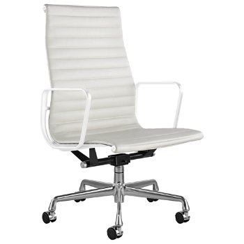 Shown in 2100 Leather Ivory with Polished Aluminum Base/ White Frame, 2-In. Hard Double Wheel Caster, Chrome