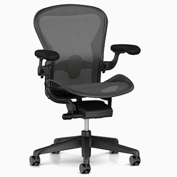 Aeron Office Chair – Size B, Graphite with Eames Lounge Chair with Ottoman and Everywhere Table Rectangular