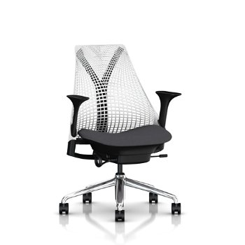 Shown in Studio White back suspension finish, Black Base/ Black Y-Tower finish, Twilight Arm Pad finish, Carbon/ Charcoal seat