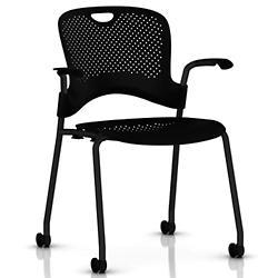 Caper Stacking Chair w/ Flexnet Seating(Black/Black/Black/Black/Hard)-OPEN BOX