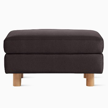 Shown in MCL Leather Espresso fabric with Light Oak leg finish