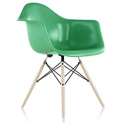 Eames Molded Fiberglass Armchair-Wood (Gr/Bk/Eb/St)-OPEN BOX