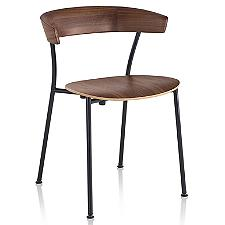 Leeway Stackable Metal Side Chair with Wood Seat