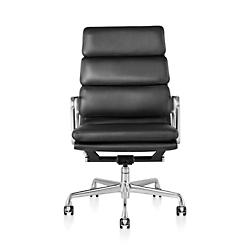 Eames Soft Pad Executive Chair(Alumnum/Leather Blk)-OPEN BOX