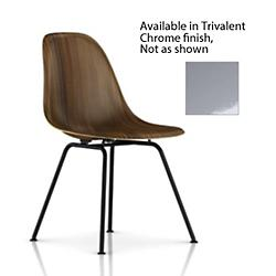 Eames Molded Wood Side Chair with 4-Leg Base (Trivalent Chrome/Santos Palisander/Standard Glide) - OPEN BOX RETURN