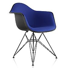 Eames Molded Plastic Armchair with Wire Base, Upholstered  -  Authorized Retailer