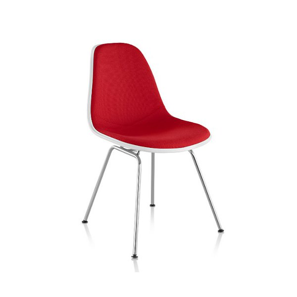 Eames Molded Plastic Side Chair with 4-Leg Base, Upholstered