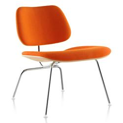 Eames Molded Plywood Lounge Chair with Metal Legs, Upholstered