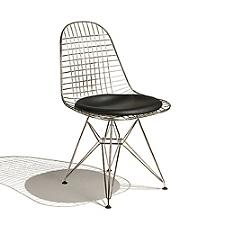 Eames Wire Chair with Leather Seat/Wire Back  -  Authorized Retailer