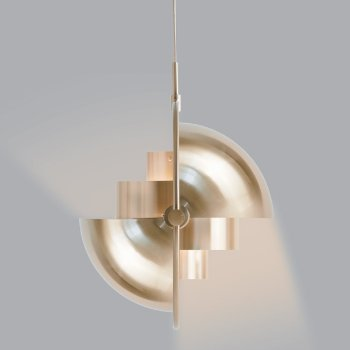 Shown in Matte White with Brass finish, lit