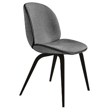 Shown in Remix 152 Gray with Black Leather Piping fabric, Blackstained Beech base