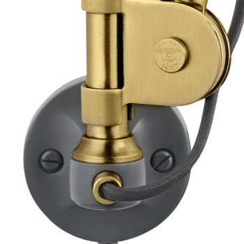 Shown in Brass with Grey finish