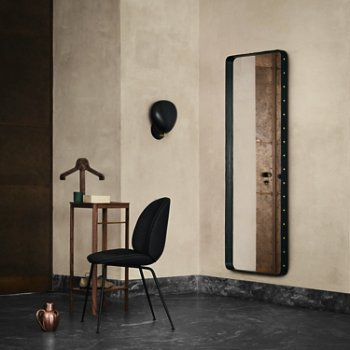 Adnet Rectangulaire Mirror with Cobra Wall Sconce and Beetle Upholstered Dining Chair Steel Base