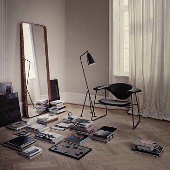 Adnet Rectangulaire Mirror with Grasshopper Floor Lamp