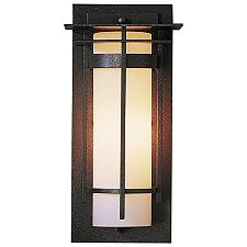 Banded Coastal Outdoor Wall Sconce with Top Plates