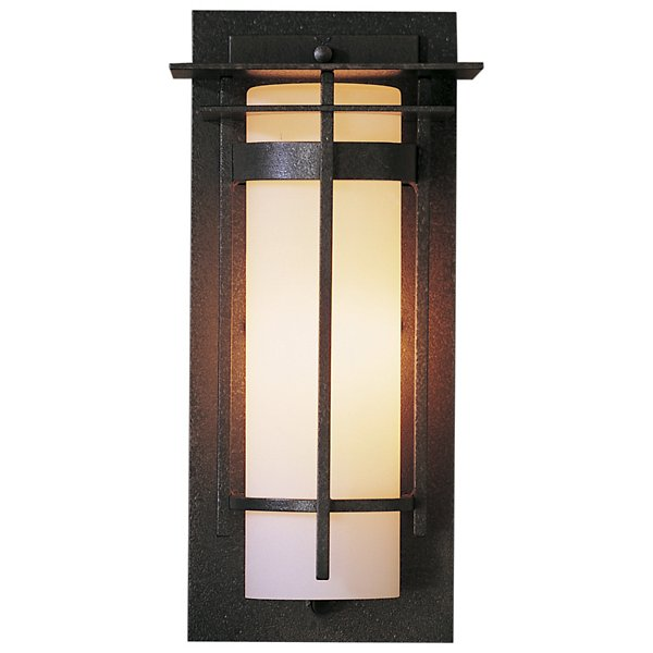 Banded Coastal Outdoor Wall Sconce with Top Plate