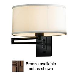 Simple Swingarm Wall Sconce (Bronze/Natural Anna) - OPEN BOX