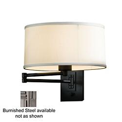 Simple Swingarm Wall Sconce (Steel/Natural Anna) - OPEN BOX
