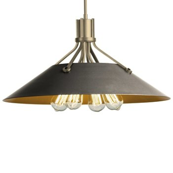 Shown in Soft Gold finish with Natural Iron Shade finish