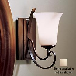 Scroll Single Line Wall Sconce w/ Glass (Brn/Stn) - OPEN BOX