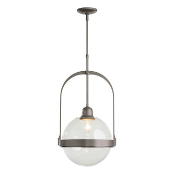 Shown in Burnished Steel finish with Clear glass color