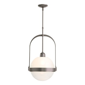 Shown in Burnished Steel finish with Opal glass color