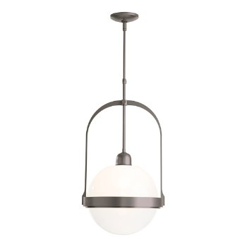 Shown in Burnished Steel finish with Opaline glass color