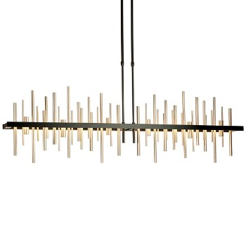 Shown in Burnished Steel with Vintage Platinum finish, lit