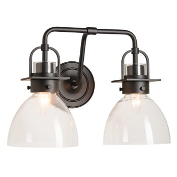 Shown in Matte Black finish, Clear Glass color with 2 Light Option